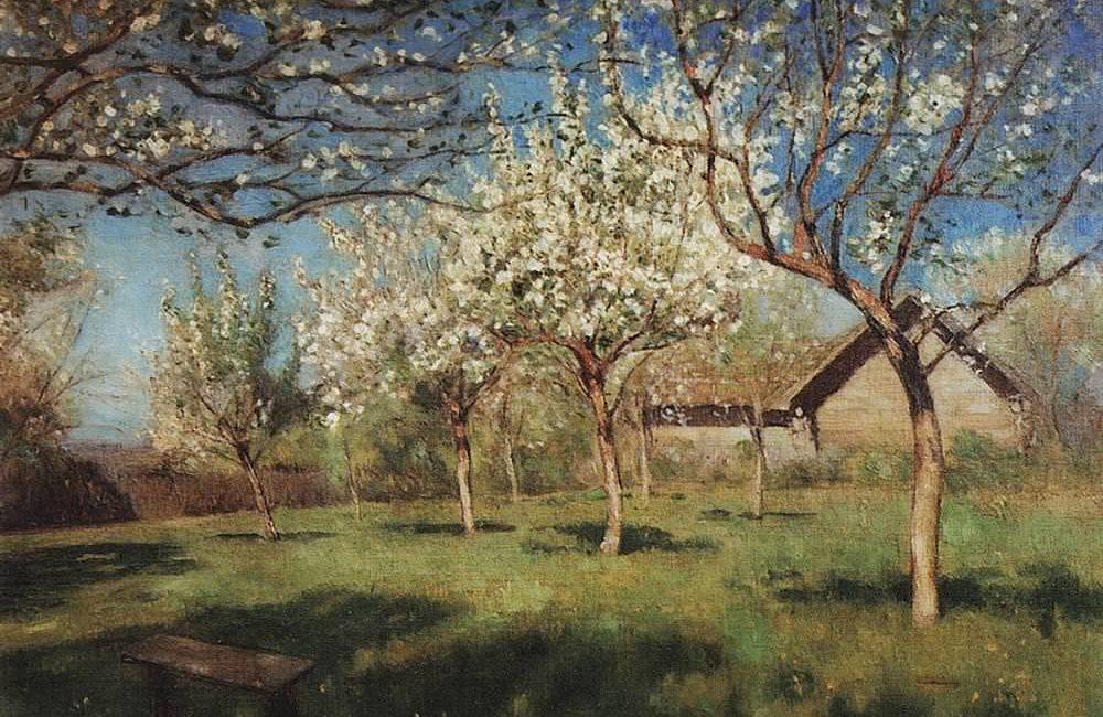 Левитан Исаак Ильич (1860-1900). Цветущие яблони 4. 1896