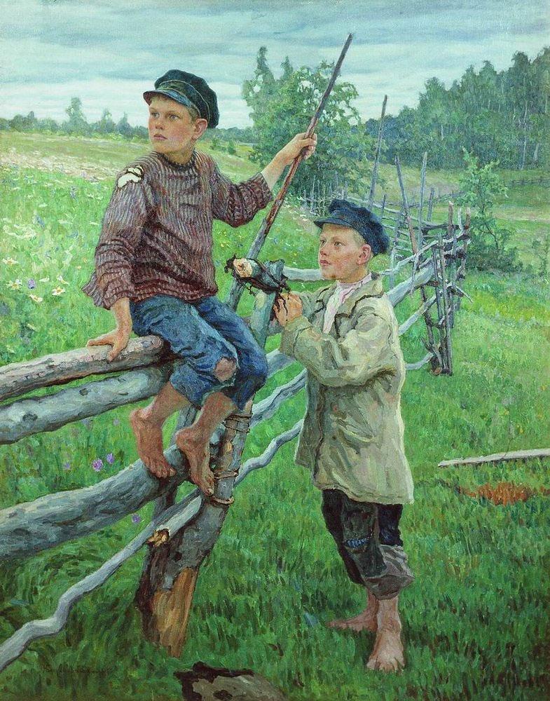 Николай Петрович Богданов-Бельский. Деревенские мальчики. Вариант. 1936
