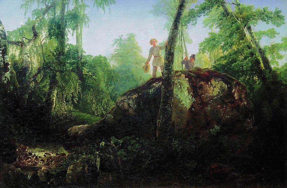 Алексей Саврасов, Камень в лесу у Разлива. 1850