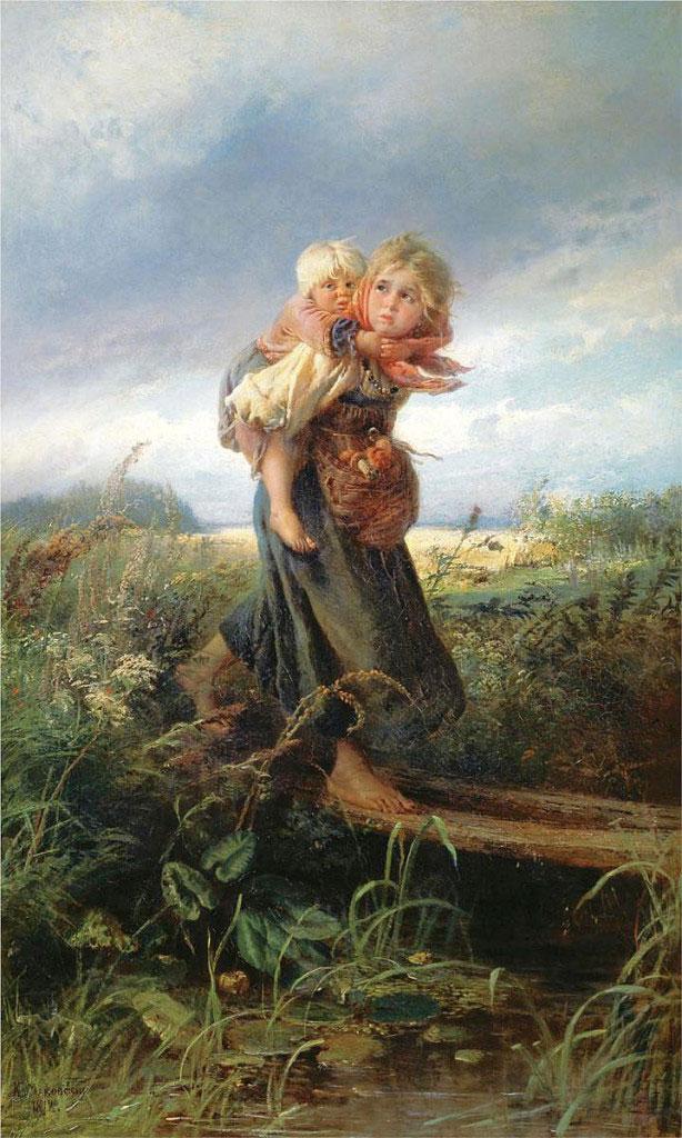 Маковский Константин Егорович (1839 - 1915). Дети, бегущие от грозы. 1872