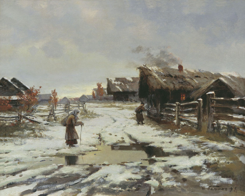 Бажин Н.Н. (1856 - 1917), Вечер в деревне. Оттепель. 1898