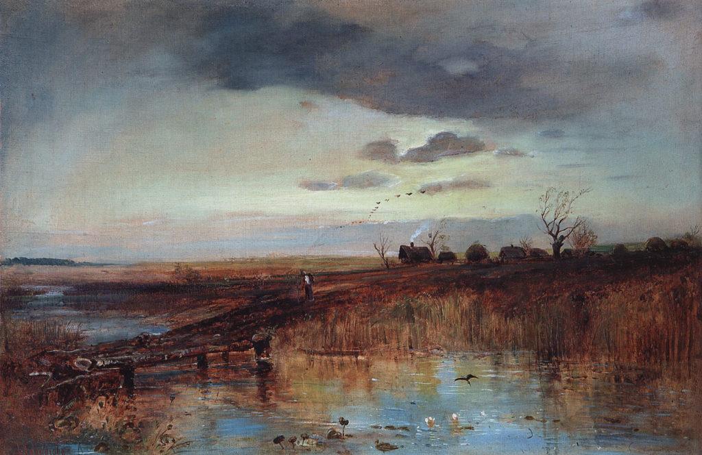 Саврасов А.К. (1830 - 1897), Осень. Деревушка у ручья. 1870-е