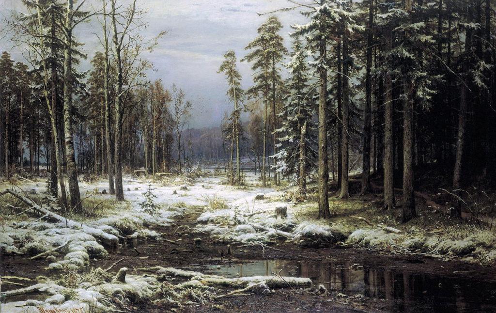 Шишкин И.И. (1832–1898), Первый снег. 1875
