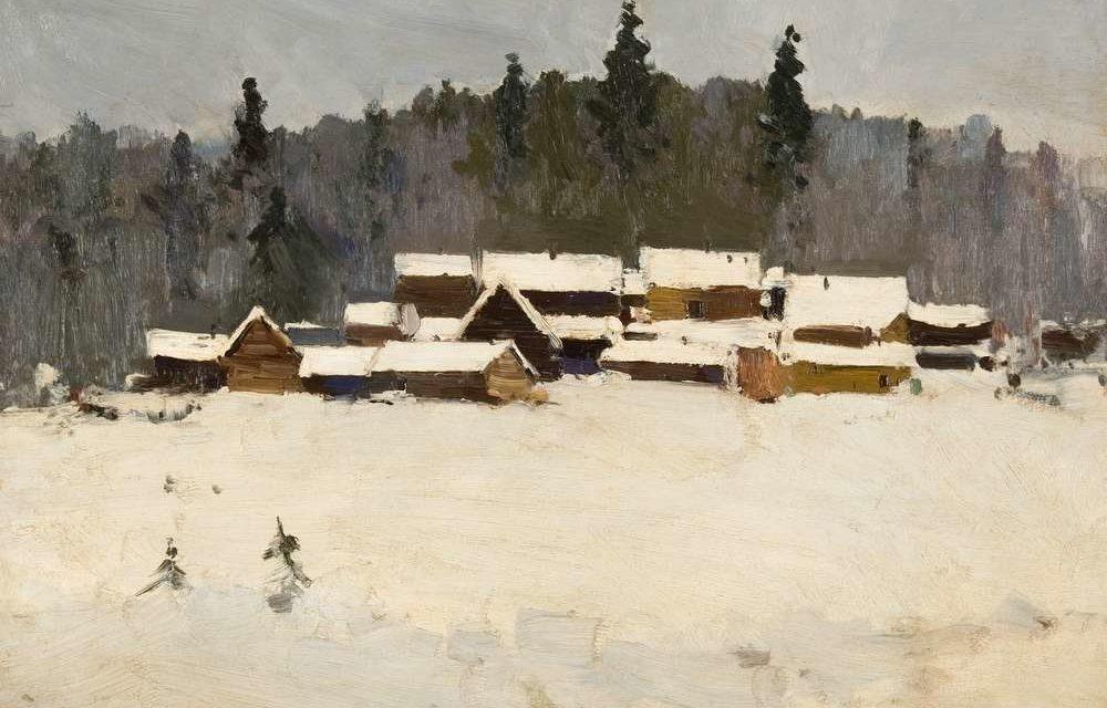 Аладжалов Мануил Христофорович.Деревня зимой. 1910-е.
