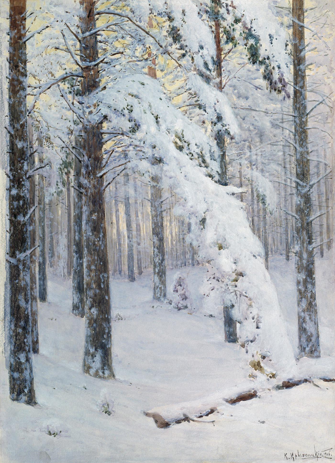 Константин Яковлевич Крыжицкий. Лес зимой.