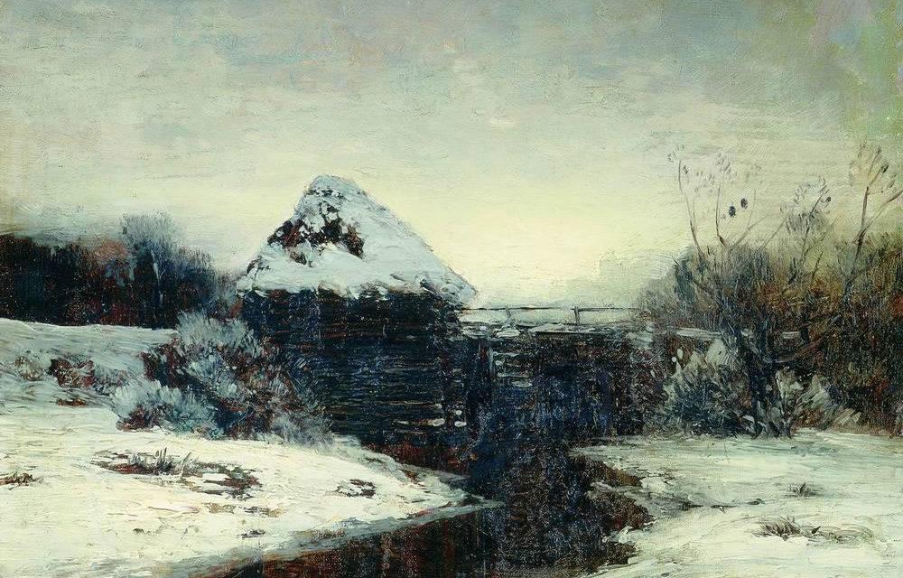 Исаак Ильич Левитан. «Зимний пейзаж с мельницей». 1884.