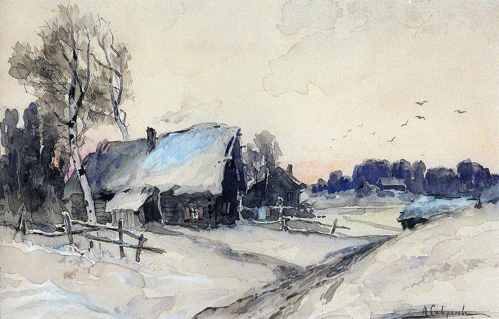 Алексей Кондратьевич Саврасов. «Деревня зимой». 1880-1890-е.