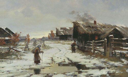 Бажин Н.Н. (1856 - 1917), Вечер в деревне. Оттепель. 1898.jpg