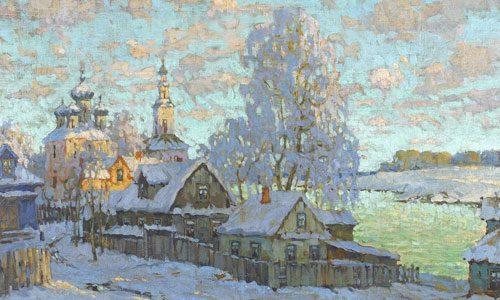 Горбатов К.И. (1876 - 1945), Деревня под снегом солнечным днем. 1919.jpg