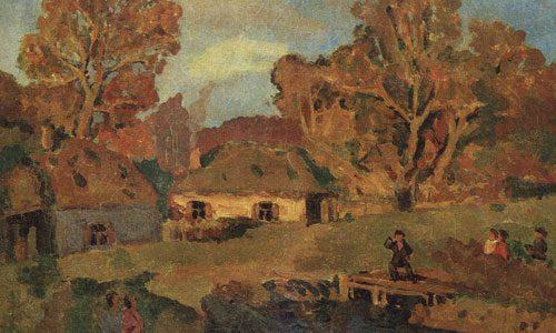 Крымов Н.П. (1884 - 1958), Деревенский пейзаж с мостом. Около 1920.jpg